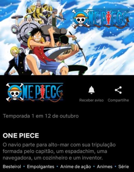 Print da tela da Netflix mostrando a data de estreia de One Piece