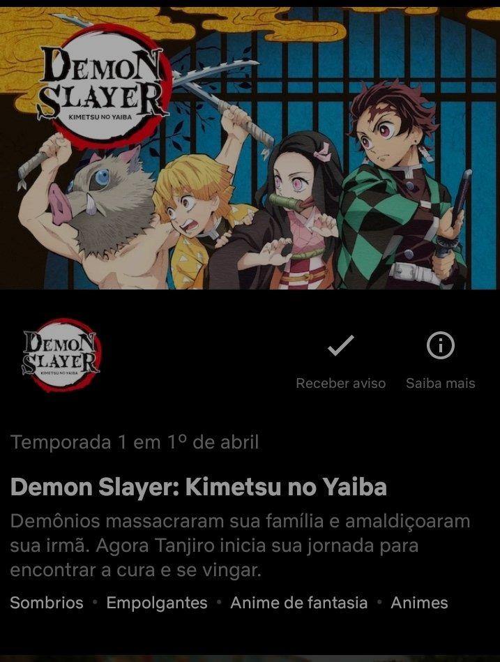 """Imagem: 'Kimetsu' no """"em breve"""" da Netflix."""